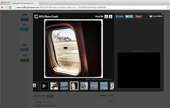 An image sourced by CrowdMedia from a Twitter user who was on the tarmac at SFO during the Asiana Airlines crash was used in a gallery on Huffington Post.