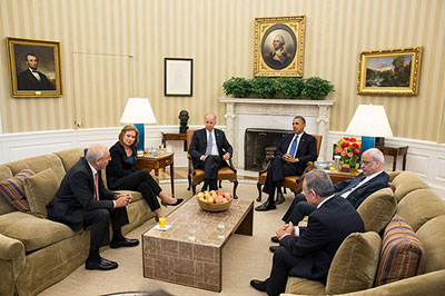"Visual press release? President Obama and Vice President Biden met with Israeli and Palestinian negotiators in the Oval Office, July 30, 2013. Media organizations say their photographers were excluded on the grounds that it was a ""private meeting."" The White House issued this photo by staff photographer Chuck Kennedy afterwards."