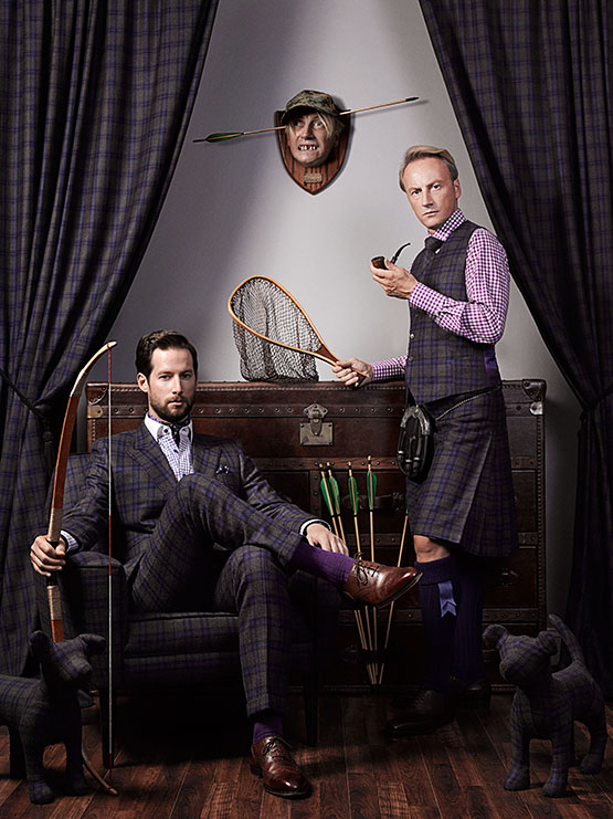 A collaboration between photographer Mark Mann and men's custom tailor Lord Willy's, with art direction and styling by the brand's co-owner, Alex Wilcox. Wilcox (right) is pictured here with a client. It's also his head on the wall.