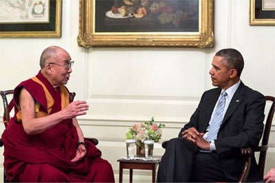 No photographers allowed: White House released this photo of President Obama's meeting with the Dalai Lama on February 21.