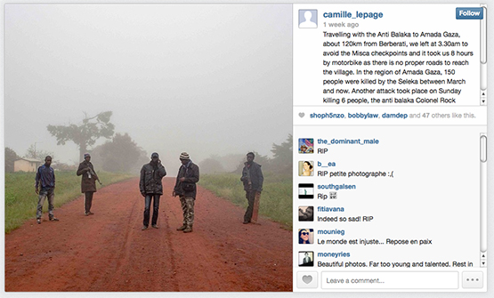 In her most recent post on Instagram on May 6, slain photojournalist Camille Lepage shared a photograph of people she was traveling with and details about her location.