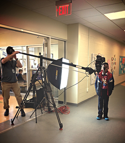 One of Brad Horn's video portrait set-ups at Maury Elementary school.