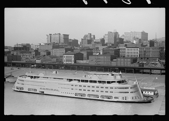 Image caption: Modern riverboat, St. Louis, Missouri, 1940, by John Vachon.
