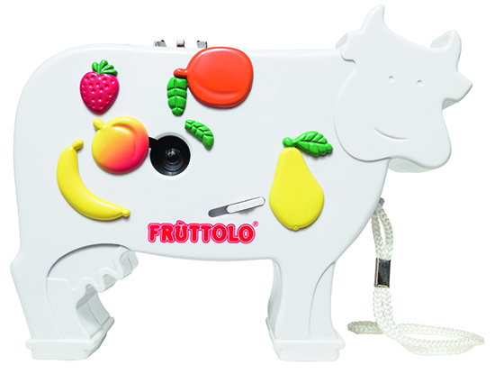 The Fruttolo Cow Camera, manufactured in 1997 for an Italian yogurt brand, includes a hotshoe. Photo by J.K.  Putnam.
