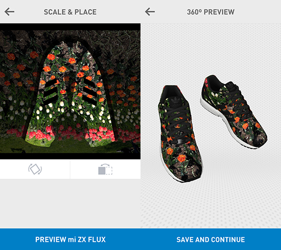 Left: a screen shot of the #miZXFLUX app image adjustment screen. Right: the preview screen of the #miZXFLUX app.