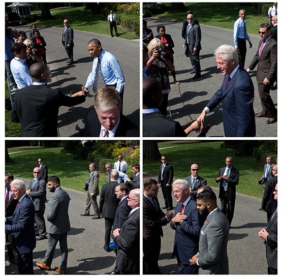 A little Washington drama: Bill Clinton keeps Barack Obama waiting at a White House photo op. ©Stephen Crowley/The New York Times