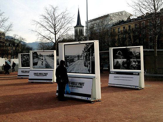 An outdoor exhibition of Greg Constantine's photographs in the Plaine de Plainpalais park in central Geneva. Photo courtesy Greg Constantine.