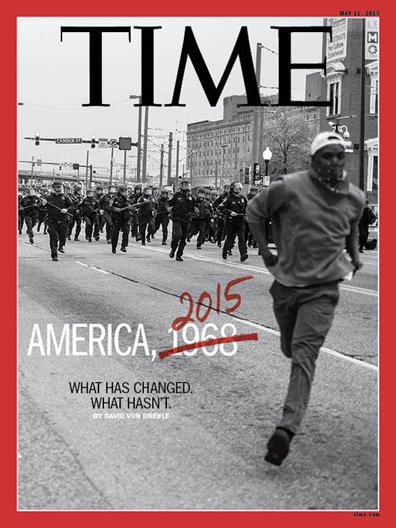 The May 11, 2015 cover of TIME Magazine, with an image by aspiring photographer Devin Allen.