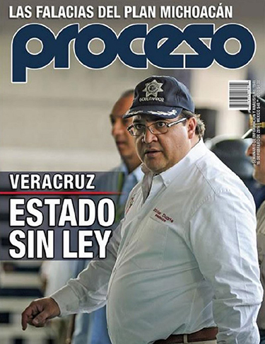 Ruben Espinosa says he was barred from official events in Veracruz and harassed after this photo he took of Veracruz governor Javier Duarte was published on the cover of Proceso in April, 2014. Duarte reportedly sent staff out to buy every available copy of the magazine.