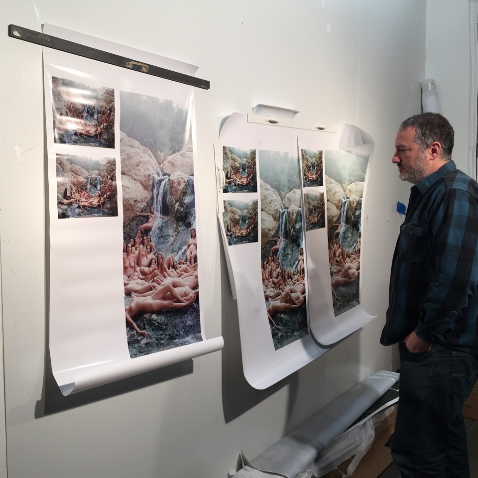 Spencer Tunick eyes up his work.