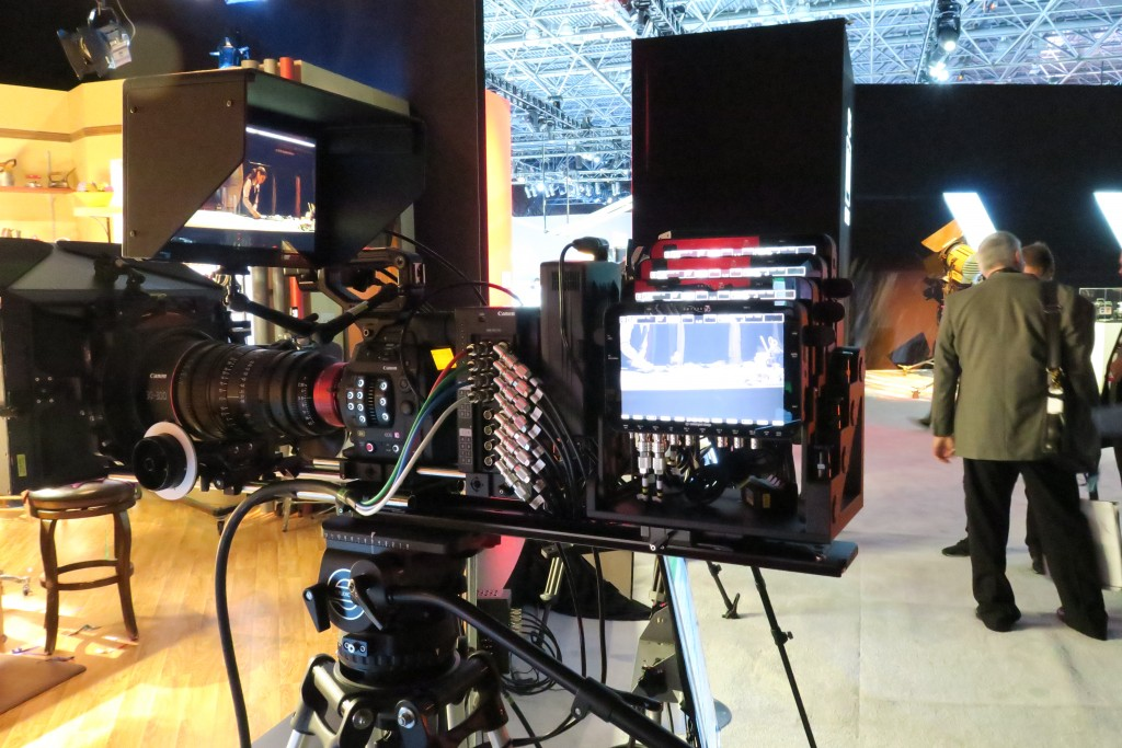 In this demo, Canon is recording four 4K streams from its 8K camera, passing it through a debayer box and sending four 4K quadrants into individual external recorders. To construct the 8K footage, the files from each external recorder must be merged in post production.