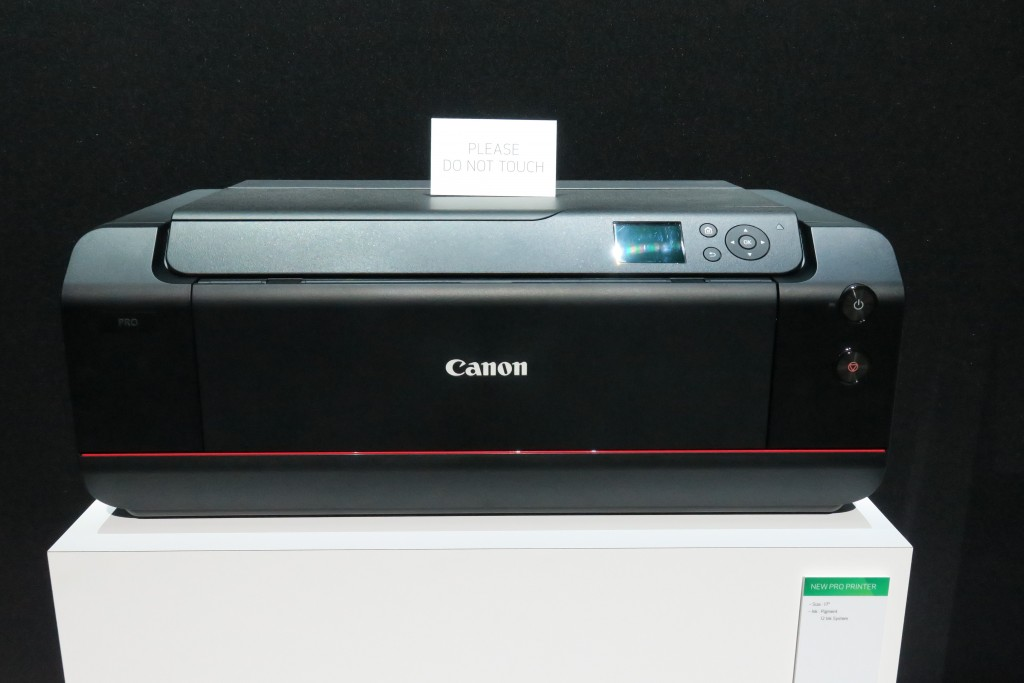 Canon looks poised to refresh its professional inkjet printers. Three models, including this 17-inch mockup, were displayed at the Expo.