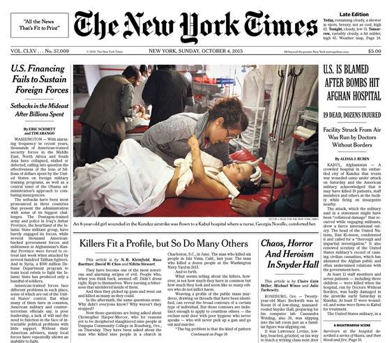 Front page of October 4 New York Times, with photo by Victor J. Blue. © The New York Times