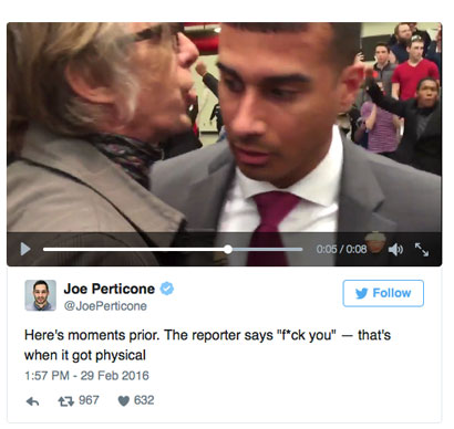 Video by Joe Perticone of Independant Journal shows Chris Morris swearing at a Secret Service agent, who then grabbed the photographer by the throat.