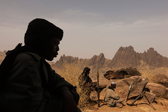 © Adriane Ohanesian. Central Darfur, Sudan – March 4, 2015: Members of the rebel group, the Sudan Liberation Army, led by Abdul Wahid (SLA-AW), defend a mountain from the Sudanese government forces in Central Darfur.