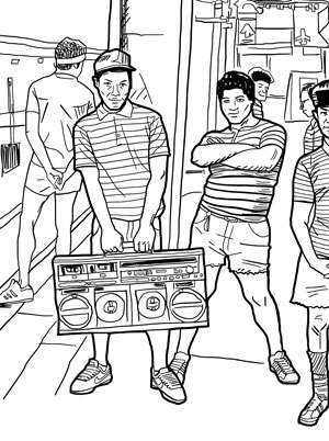 From Back in the Days Coloring Book, the coloring book version of Jamel Shabazz's classic photo book.