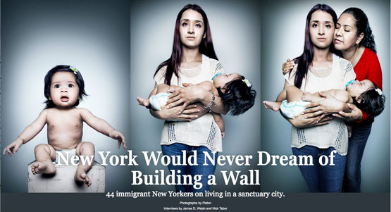 "Photos © Platon. The three cover portraits for New York magazine's story, ""44 Immigrants on Living in a Sanctuary City."""