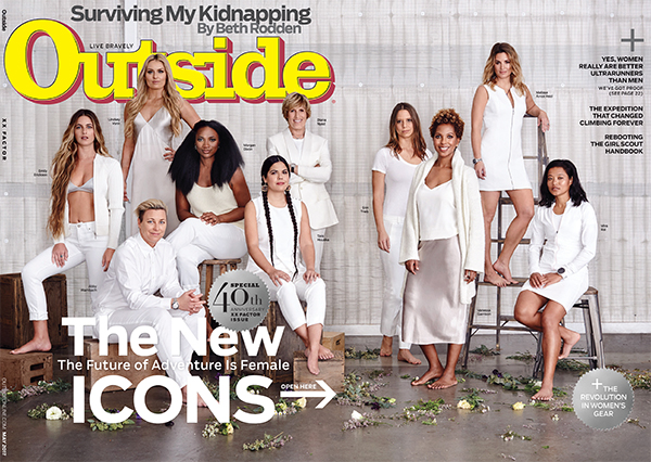 The May 2017 cover of Outside magazine, photographed by Annabel Mehran. Photojournalist Erin Grace Trieb is fourth from the left.