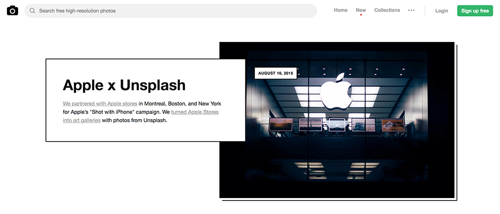 A Screen Grab From Unsplashs Company History Web Page In 2015 Apple Partnered With The For Store Galleries Featuring Unsplash Contributors