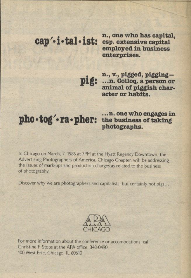 Photography Ads of Yore: Capitalist Pig